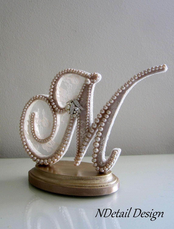 Vintage Monogram Wedding Cake Toppers Wedding Cake Topper Cu...