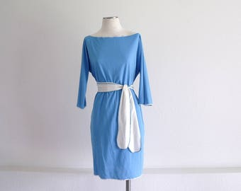 Vintage 60s Mod Dress, Day Dress, Womens Dress, Another Goody Dress, Blue Dress, Lightweight, Belted Dress, Boat Neck, Dolman Sleeves