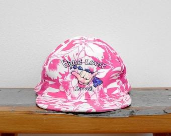 8d4b3d41109ec6 Vintage 90s Snapback Hat, Hang Loose Hat, Shaka Brah, 90s Neon Pink Hat,  Hawaiian Hat, Hibiscus, Adjustable