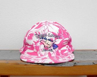 b28387b2 Vintage 90s Snapback Hat, Hang Loose Hat, Shaka Brah, 90s Neon Pink Hat,  Hawaiian Hat, Hibiscus, Adjustable