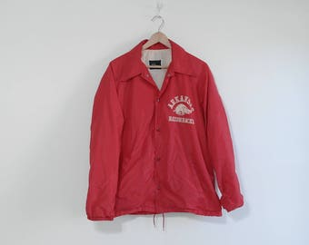 Vintage Arkansas Jacket, Arkansas Hogs, Velvet Razorback, SEC Football, Red Jacket, Mens Jacket, Womens Jacket, Nylon Jacket, Windbreaker, L