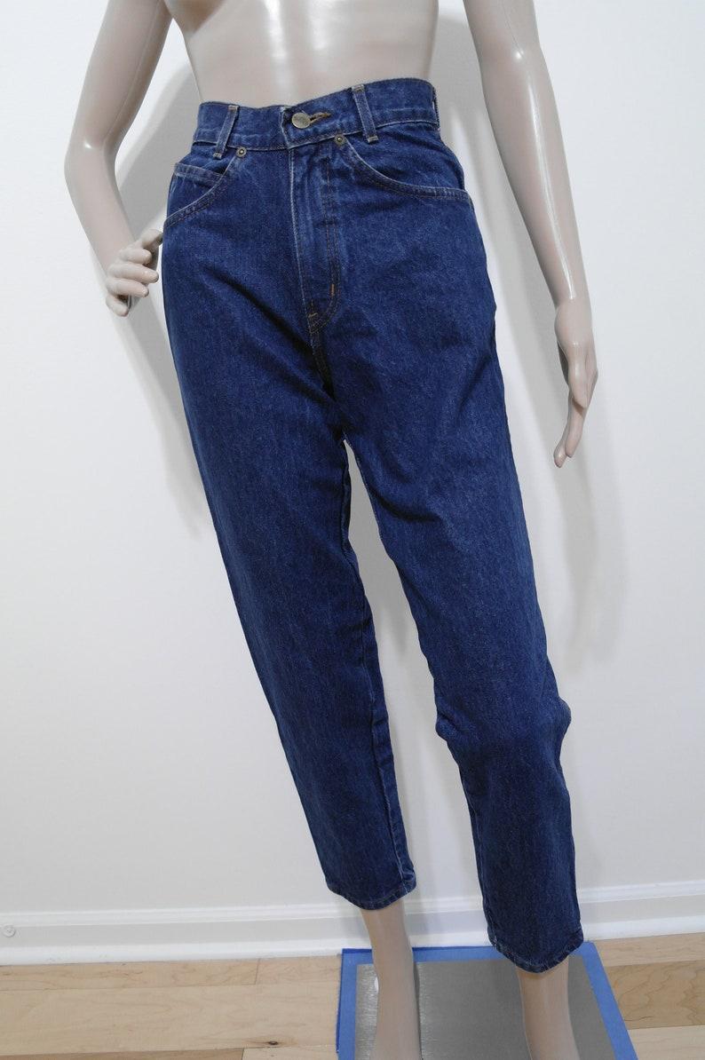 Vintage Chic Denim Jeans 3 Petite Dark Blue Wash Boyfriend Jeans 90s High Waisted Denim Made in USA Mom Jeans 22 Waist Straight Leg