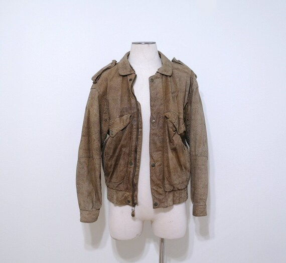 Vintage Leather Bomber Jacket, Brown Leather Coat,