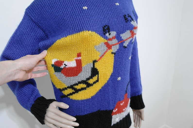 Knit Santa/'s Sleigh and Reindeer Small Ugly Christmas Sweater Vintage Christmas Sweater 80s Christmas Sweater
