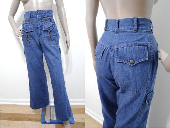 Vintage 70s Zipper Jeans, 70s Bell Bottoms, Nest C