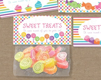 Sweet Shop Candy Land Treat Bag Toppers, Instant Download, DIY