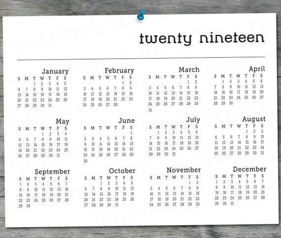 2019 Printable Calendar Instant Download 8 5 X11 Black And White