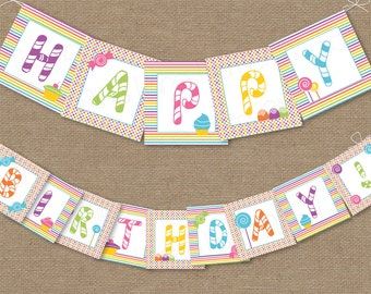 Sweet Shop Candy Land Printable Happy Birthday Party Banner, Instant Download, DIY