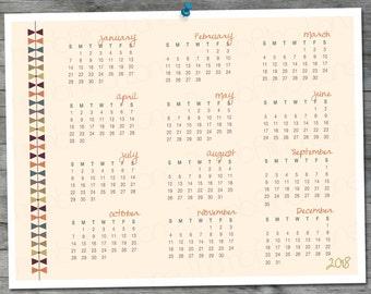 2018 Printable Calendar A4 8.5 x11 - Bowtie Design, PDF, Digital File, D.I.Y.