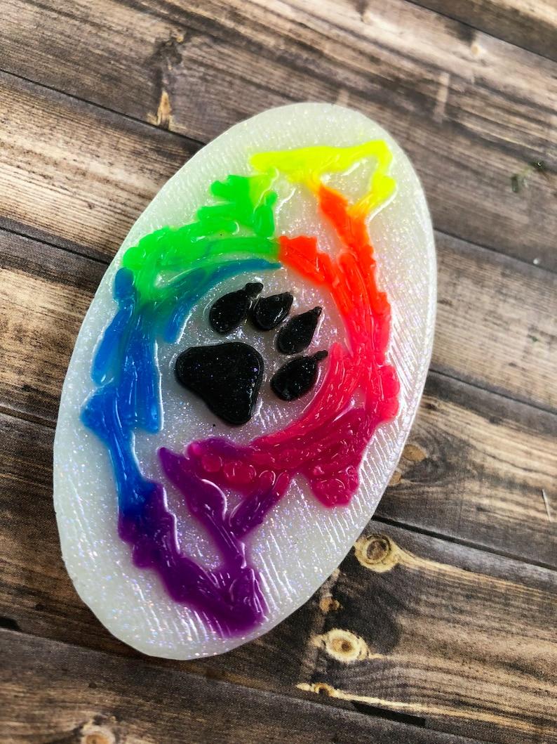 Keychain Magnet Rainbow Wolf Paw Pendant