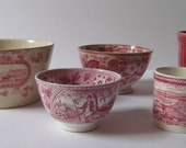 Cranberry TRANSFERWARE China Instant Collection 5 Antique/Vintage Different Patterns One Deco