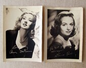 Donna Reed, Ann Southern, Vintage Photographs, Studio Signed, Sepia Tone, c. 1945, Excellent Portraits