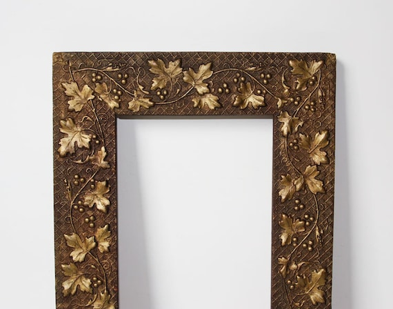 Antique Picture Frame Beautifully Embossed Rich Dark Gold   Etsy
