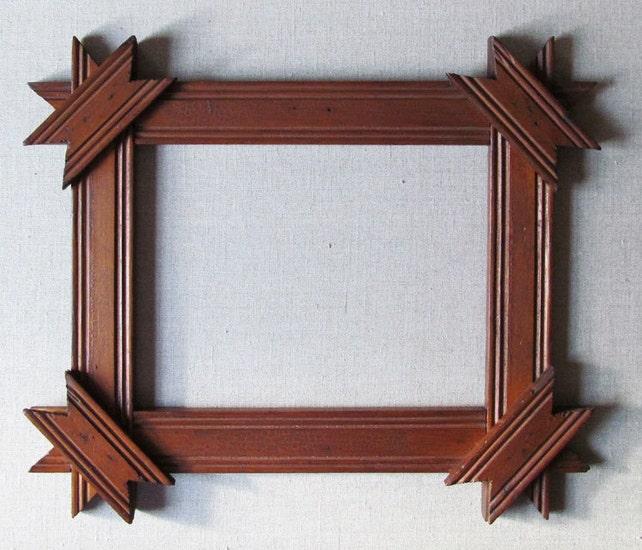 Rustic Picture Frame Folk Art Tramp Art Hand Made Vintage   Etsy