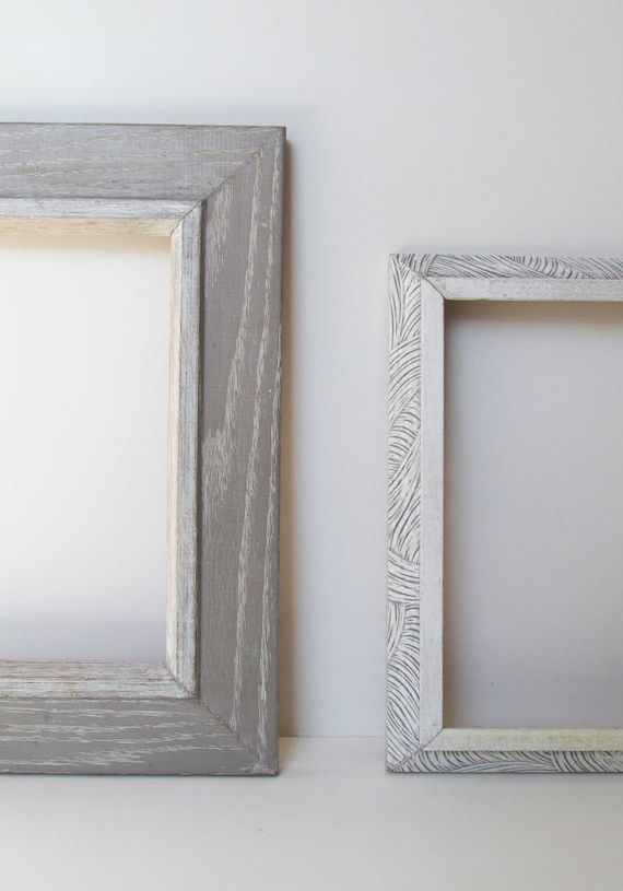2 Mid Century Frames Late 1950s One Washed Grey Ash Wood Etsy