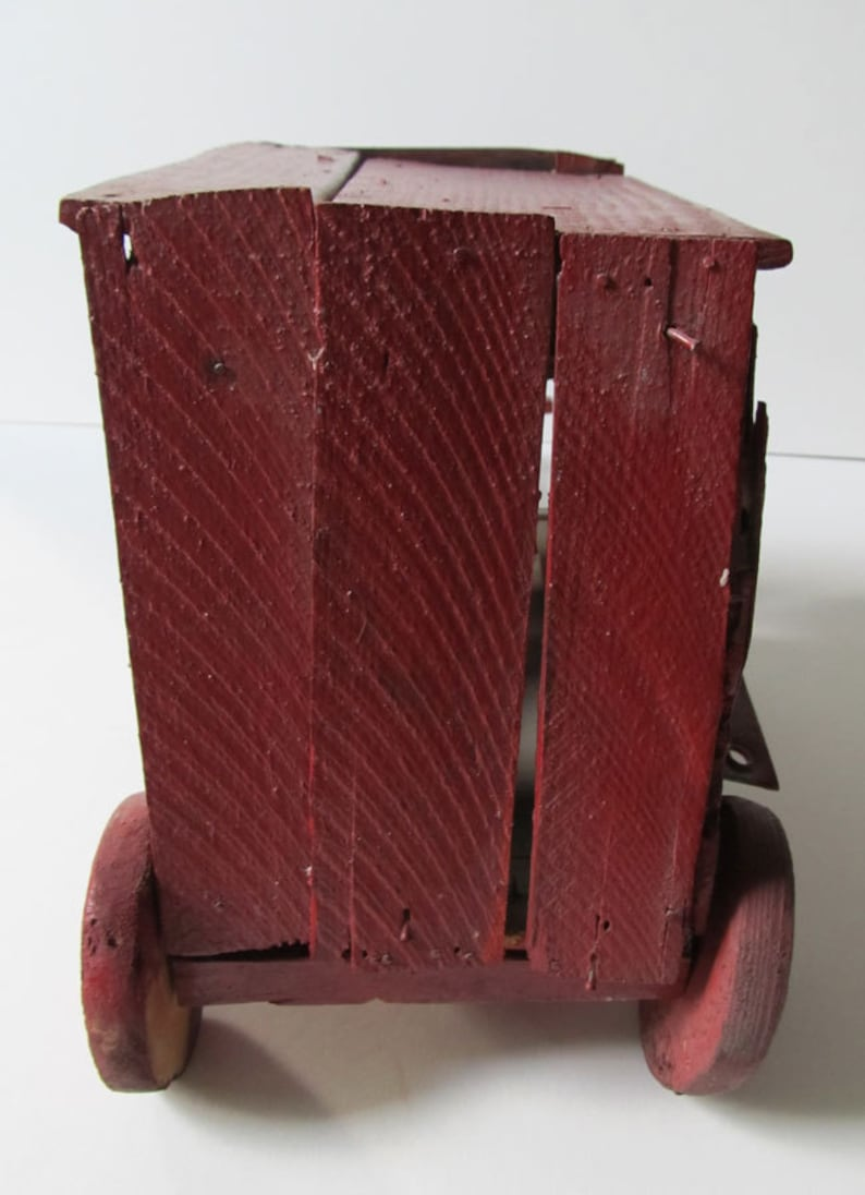 Primitive Vintage Folk Art Toy Movable Red Stagecoach: Wood and Metal Completely Hand Made Whimsical /& Wonderful Rustic Sweetheart
