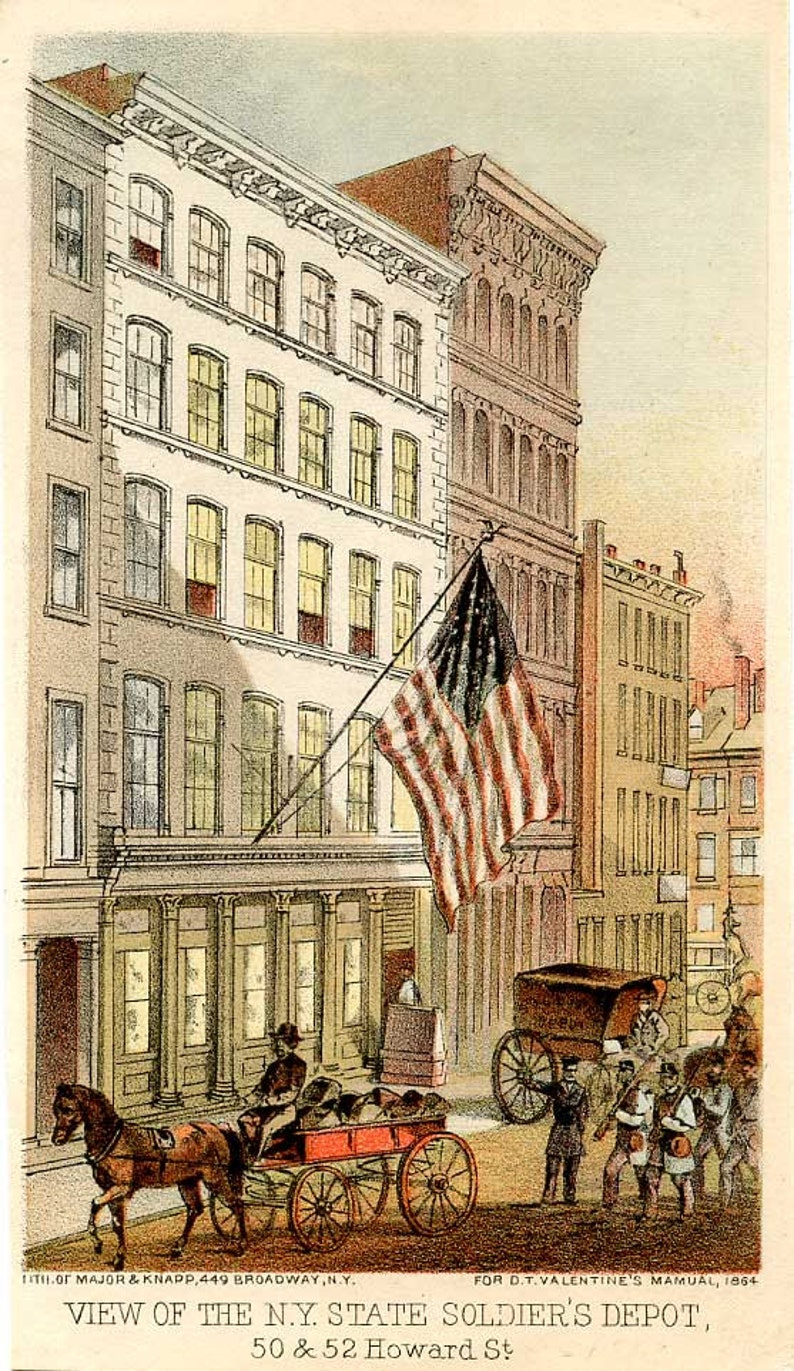 Howard Street, No 50&52, 1864, NYC, Historic Antique Lithograph, N Y  State  Soldier's Depot, Post Civil War, Soldiers, Horse and Carriage