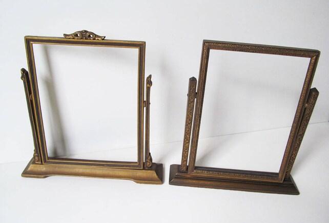 Tabletop Picture Frames Embossed Gold Pedestal Swing   Etsy
