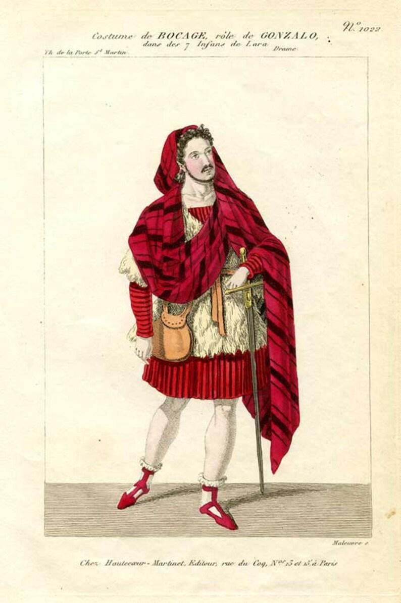 Couleur GravureBrillantRougeamp; ShakespeareGonzaloLa Main À NoirC1820 TempêteCostumeAntiqueOriginal gyb6f7