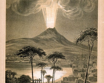 Eruption of Vesuvius, Volcano, Bay of Naples, c.1900, Scientific, Historic Illustrated Article, 1 Lithograph+Wood Engravings, Vintage Italy