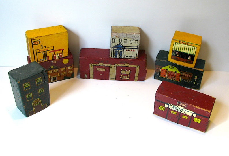 Police Hand Painted Blocks OOAK + 4 Free Blocks More Service Station c.1950 8 Wood Vintage Folk Art Toy Fire House Train Station
