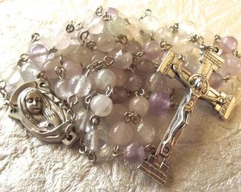 Lavender Quartz Stone Rosary