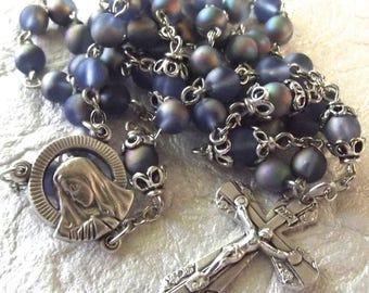 Blue Rainbow Iridescent Glass Catholic Rosary