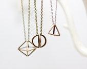 Geometric Brass Orb Pendant Necklace