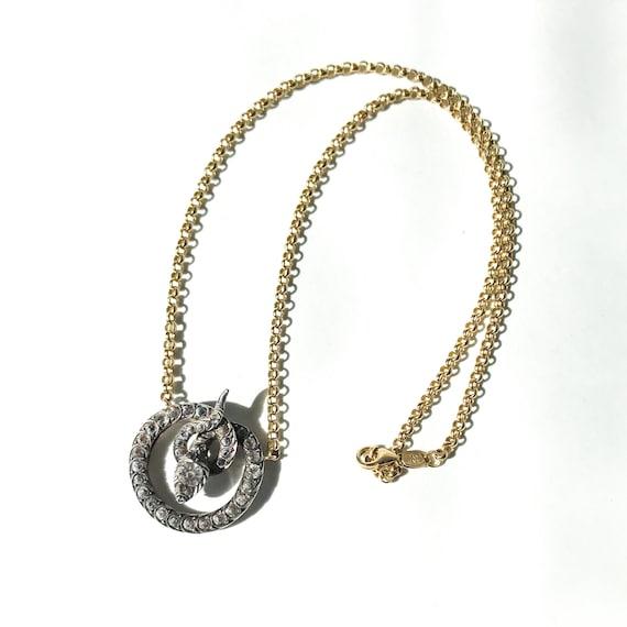 Victorian Foil Back Paste Snake Necklace Silver/1… - image 5