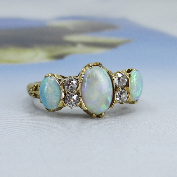 Victorian Opal and Old Mine Diamond Ring 18k c. 1… - image 6