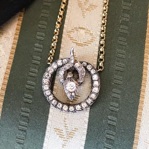 Victorian Foil Back Paste Snake Necklace Silver/1… - image 7