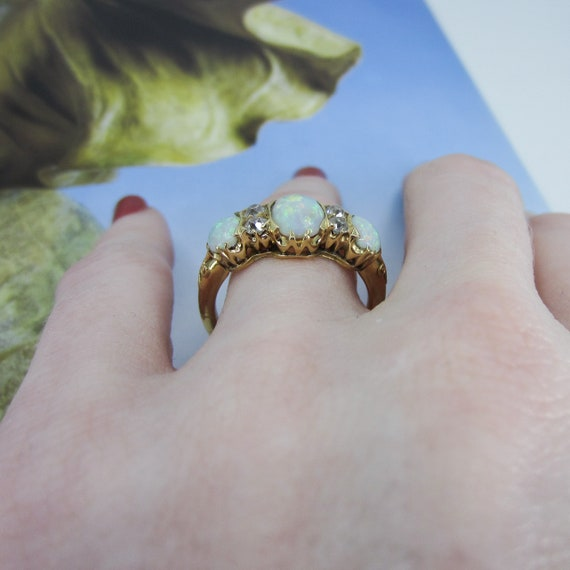 Victorian Opal and Old Mine Diamond Ring 18k c. 1… - image 9