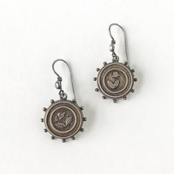 Vintage Earring, Victorian Flower Earrings Silver… - image 2