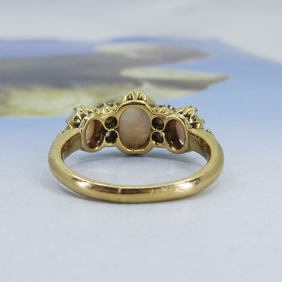 Victorian Opal and Old Mine Diamond Ring 18k c. 1… - image 4
