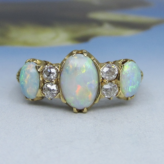 Victorian Opal and Old Mine Diamond Ring 18k c. 1… - image 1