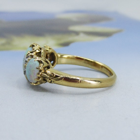 Victorian Opal and Old Mine Diamond Ring 18k c. 1… - image 3