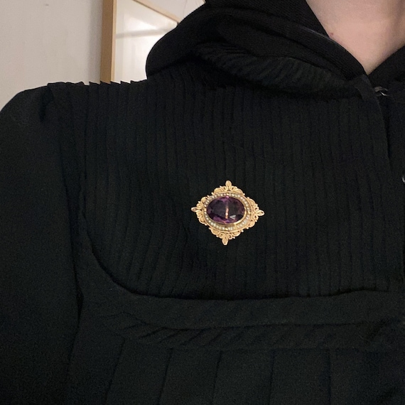 Vintage Brooch, Mid-Century Amethyst and Pearl Br… - image 6