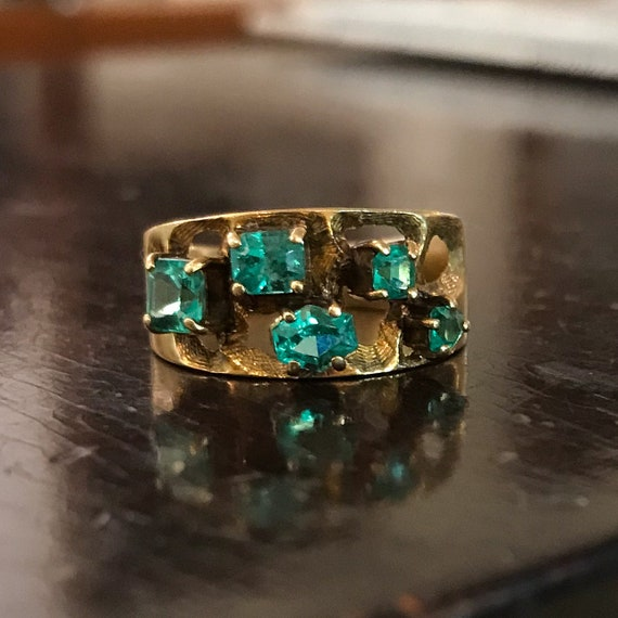 Vintage Emerald Ring, Mid-Century Emerald Textured