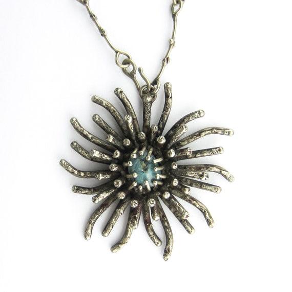 Vintage Necklace, Brutalist Jade Pendant Necklace