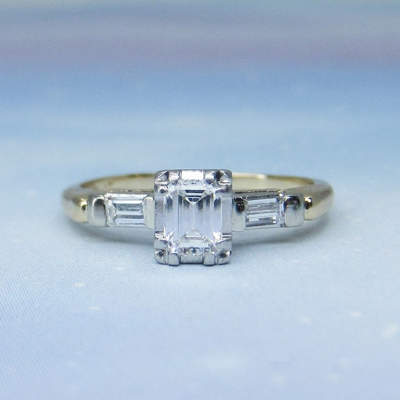 Vintage Engagement Ring, Art Deco Emerald Cut Diam