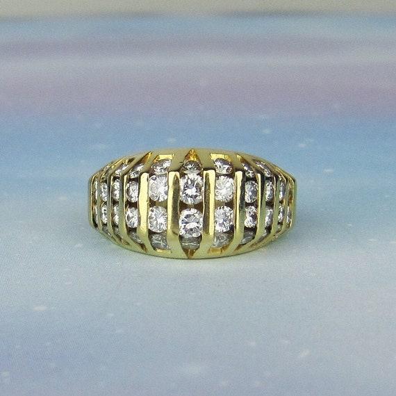 Vintage Ring, Chunky Channel Set Diamond Ring 18k