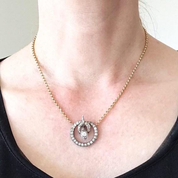 Victorian Foil Back Paste Snake Necklace Silver/1… - image 9