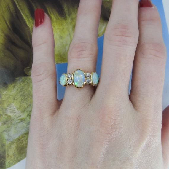 Victorian Opal and Old Mine Diamond Ring 18k c. 1… - image 8