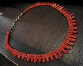 Antique Necklace, Victorian Faceted Coral Necklace c. 1860
