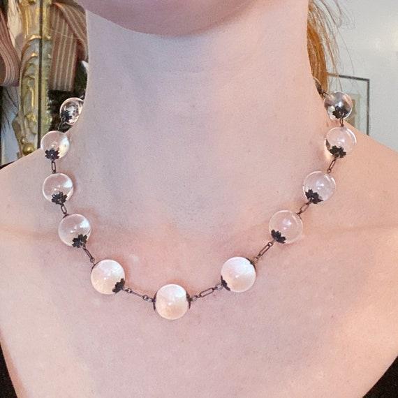 Art Deco Pools of Light Rock Crystal Necklace Ste… - image 1