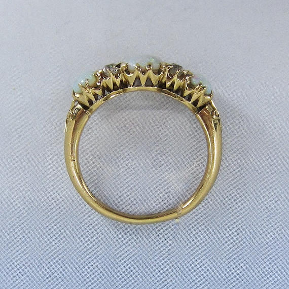 Victorian Opal and Old Mine Diamond Ring 18k c. 1… - image 7