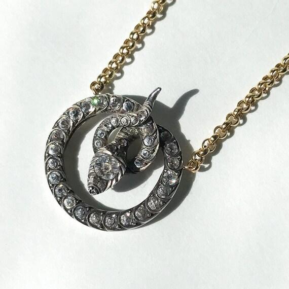 Victorian Foil Back Paste Snake Necklace Silver/1… - image 2
