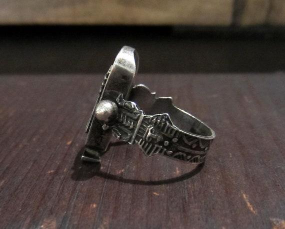 Vintage Ring, Egyptian Revival Pharaoh Ring Sterl… - image 3