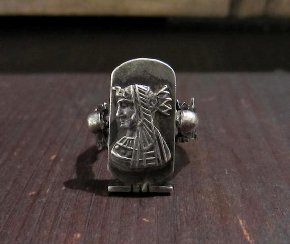 Vintage Ring, Egyptian Revival Pharaoh Ring Sterl… - image 1