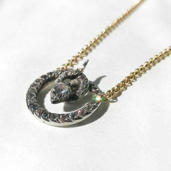 Victorian Foil Back Paste Snake Necklace Silver/1… - image 3